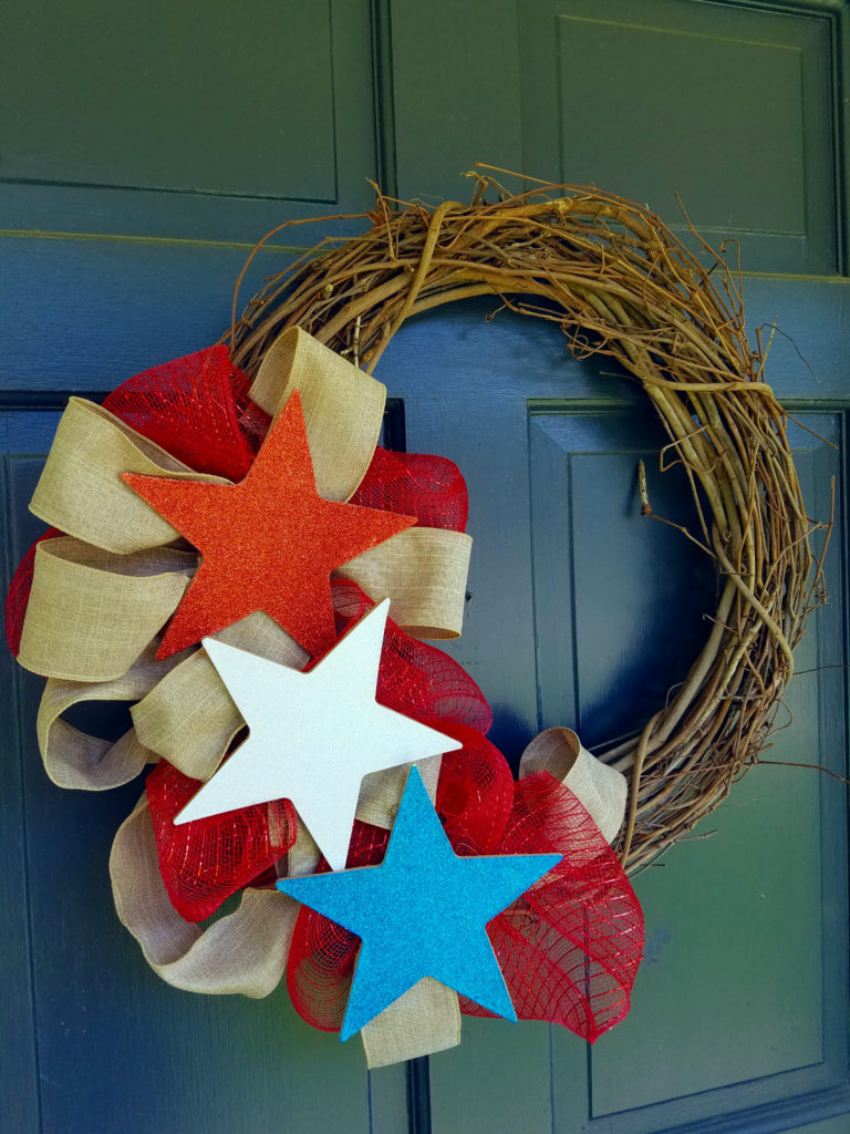 stars, patriotic, fourth of july, wreath, grapevine wreath, door wreath